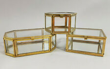 3er Set Schmuckkasten Vitrine Glas Metall Gold Messing Glasdose Glaskasten Box