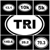 5~140.6 Ironman Triathlon Car Window White Oval Marathon Run Vinyl Sticker Decal