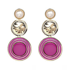 ZARA HOT PINK  METAL & PEARL   DETAIL  DROP EARRINGS