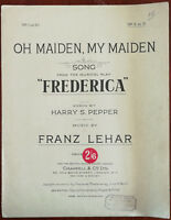 "Oh Maiden, My Maiden from the Musical ""Frederica"" by Franz Lehar 1930"