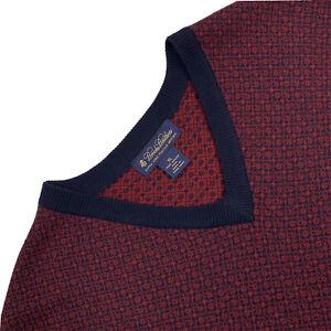 Mens XL Brooks Brothers Red / Blue Mini Argyle V Neck Merino Wool Sweater Vest