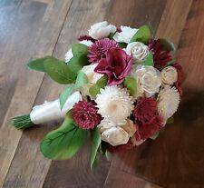 Light Maroon Pink Sola Wood Bridal Bouquet Green Leaf Artificial Wedding Flowers