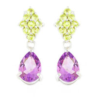 100% NATURAL 9X7MM AMETHYST PERIDOT CLUSTER EARRING STERLING SILVER 925 EARRING