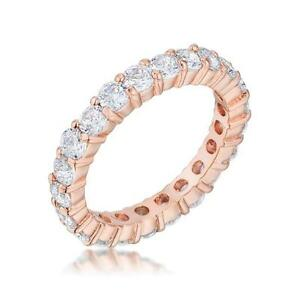 3 mm Round CZ Rose Gold Stackable Eternity Bridal Wedding Band Ring-Size 6