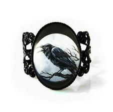 Gothic Raven Nevermore Crow Moon Glass Horror Halloween Adjustable Filigree Ring