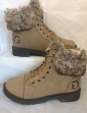 ankle boots size 6 Khaki Brown Faux Fur Lined Lace Up Hiker Worker