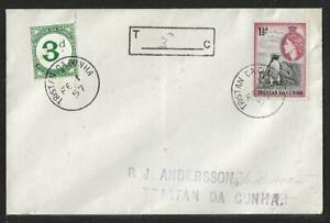 TRISTAN DA CUNHA CHARGE MARK & 3 PENCE POSTAGE DUE COVER 1957