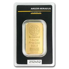 1 oz Argor-Heraeus Gold Bar .9999 Fine in Assay Card
