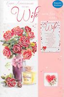 WONDERFUL WIFE, BIRTHDAY CARD, KEEPSAKE, LARGE CARD LOVELY VERSE,FLOWERS (O1)