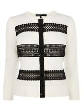 Karen Millen Lace Stripe Knit Cardigan White and Black Size 1