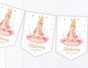 Personalised Peter Rabbit Flopsy Bunting - Christening / Baptism / Baby Shower