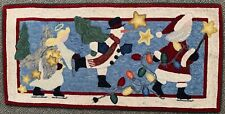 """Rug Christmas Runner Hand Woven and Dyed 100% Wool 44"""" x 21""""Snowman Santa Claus"""