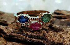 Genuine Emerald With Sapphire & Ruby Gems Ring 925 FineSilver Ring Handmade Ring