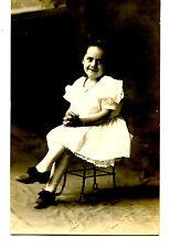 Cute Little Girl-Wire Chair-Studio Portrait-RPPC-Vintage Real Photo Postcard