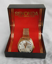 Superb Vintage USSR Sekonda Gold Plated 27 Jewel Auto Wind Watch - Boxed