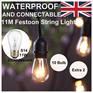 5 Sets Connectable 11M E27 Hanging Sockets S14 Bulb Festoon String Lights Garden
