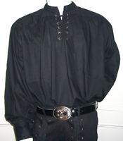 NEW Goth/ Pirate/ Medieval Fancy Dress Cotton Shirt, BLACK M