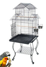 "Large 57"" Pagoda Roof Top Lovebirds Cockatiels Parakeets Bird Cage Roll Stand"