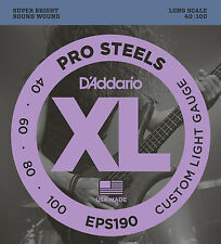 D'ADDARIO EPS190 PROSTEELS  BASS STRINGS, CUSTOM LIGHT GAUGE 4's -  40-100