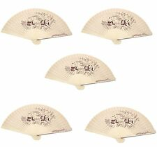 5 Double Sided Wooden Asian Panda Print Design Hand Fans Party Decoration Gift