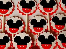 30 MICKEY MOUSE Cupcake Toppers Birthday Party Favors, Baby Shower Decoration 30