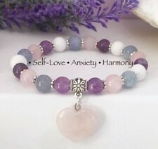 Self-Love Anxiety Harmony Crystal Healing gemstone bracelet charged with Reiki