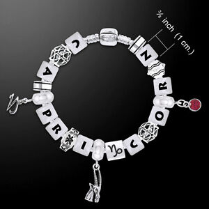 Capricorn Astrology Bead .925 Sterling Silver Bracelet Created Ruby Peter Stone