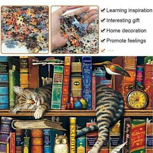 Jigsaw Puzzles 1000 Pieces For Adult Cat On Bookshelf Educational Toy AU