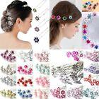 10/20Pcs Crystal Diamante Rhinestone Wedding Bridal Flower Hair Clip Hairpin Pin