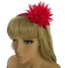 Splendido Fucsia Rosa Fiore Chiffon Fascia per capelli Fascinator con look