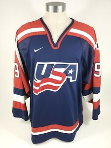 Vtg Nike Mike Modano USA Olympic Hockey Jersey Mens Size XL