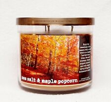 1 Bath & Body Works SEA SALT & MAPLE POPCORN Large 3-Wick Filled Candle HARVEST