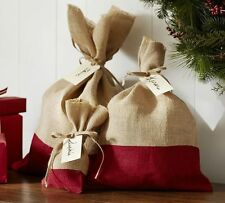 Nwt Pottery Barn (1) Red Dipped Burlap Jute Large Gift Bag Holiday Christmas