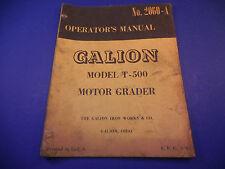 1961 Galion Motor Grader Model T-500 Operators Manual No.2060-A