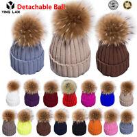 2018 Winter Hat Real Rabbit Fur Pom Pom Bobble Women Knit Beanie Christmas Gift
