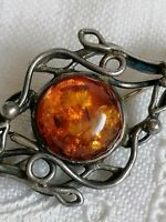 Stunning Vintage Sterling Silver & Baltic AMBER Art Nouveau Style Pin BROOCH