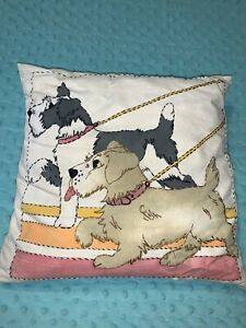 Vintage Embroidered Schnauzer Decorative Pillow Home Decor 13 X 13