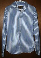Men's Ezra Fitch A & F Blue & White Striped Button Down Shirt 100% Cotton Size S