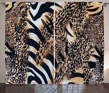 Zambia Curtains Safari Zebra Leopard Window Drapes 2 Panel Set 108x84 Inches