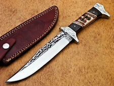 Hand Forged Stainless Steel Hunting Knife-Camel Bone Handle-Mp-7028