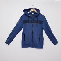 Diadora Mens Size L Large Blue Black Zip Up Hoodie Jacket Jumper Sweater