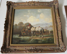 Antique Oil Painting Ornate Frame Man with Plow Horses German? Dog Bucolic Art