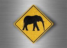 Autocollant sticker laptop macbook panneau route safari attention elephant