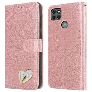 For Motorola Moto G9 Power Case Leather Glitter Flip Wallet G9 Power Phone Cover