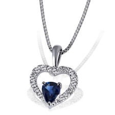 Goldmaid Kette 375er Weißgold Halskette Herz 1 Saphir 17 Brillanten Echtschmuck