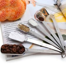 6pcs Narrow Stainless Steel Spice Measuring Square Spoons Kitchen Cookers Tool