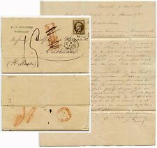 FRANCE 1868 to NETHERLANDS FRANKING INSUFFICIENT BOXED +DELETED 30c ARLES DUFOUR