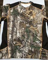 Realtree Athletic Camouflage Green Brown Camo Crew Neck Mens Large Tee T Shirt