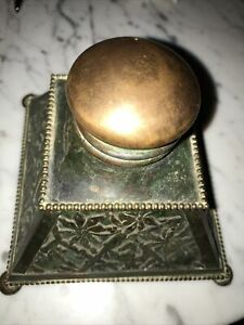 """Antique Brass/ Slug Glass Ornate Inkwell Pyramidal With Gold Color Dome Top 5x5"""""""