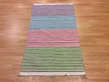 Funky Striped CREAM MULTI Colour funky ECO Friendly Cotton RUG Durrie S-M 40%OFF